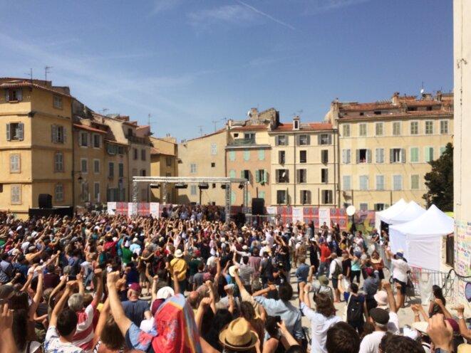 Discours de Jean-Luc Mélenchon à Marseille le 27 août 2017. © M.J.