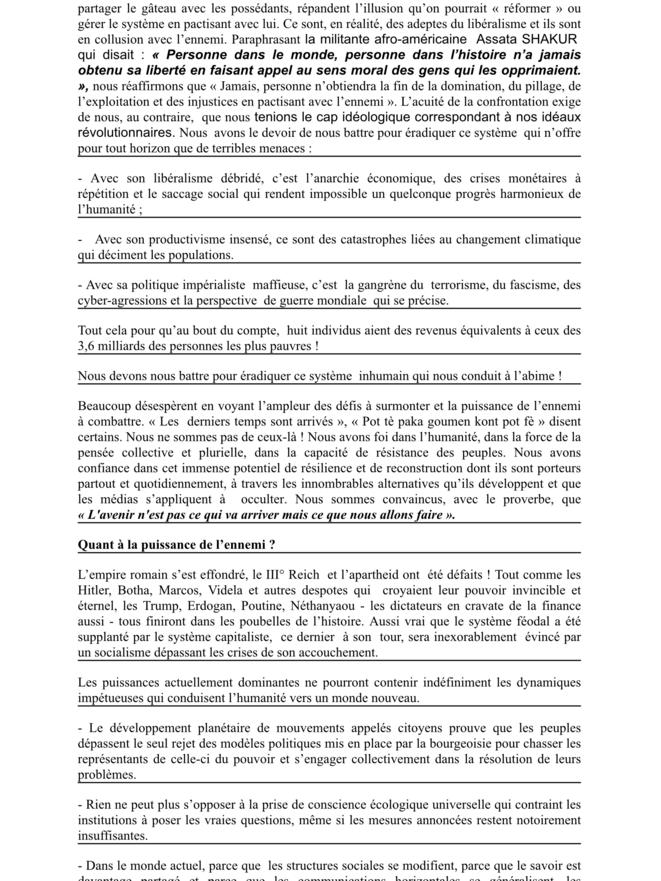 Renforcer les relations entre nos Peuples et Globaliser les résistances 3/4