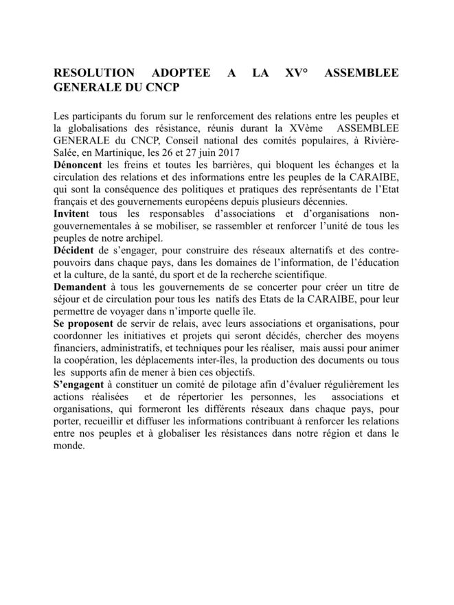 La Motion du Forum du CNCP.