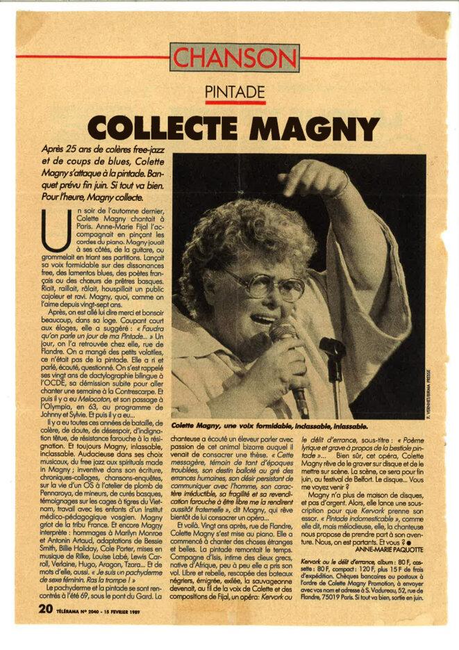 """""""Collecte Magny"""" extrait du Télérama n2040 - 15 février 1989 © Anne-Marie Paquotte"""