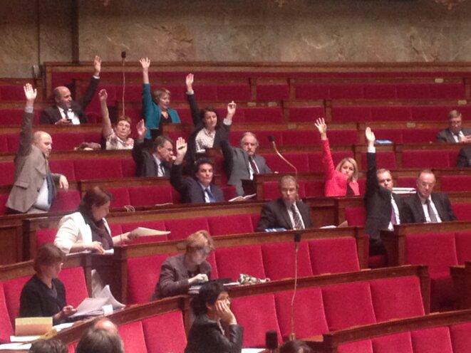 Les députés écologistes, unis, votent pour la loi de transition énergétique et croissance verte (2015) © F. Guerrien