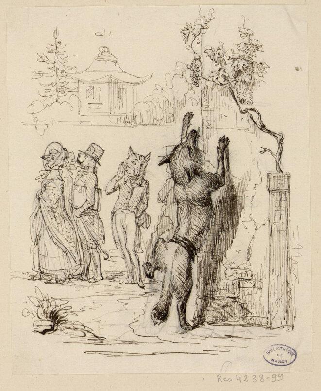 Collection des bibliothèques de Nancy - Les Fables de La Fontaine / dessins originaux de Grandville (1837-1838).