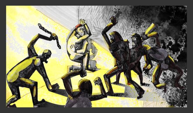 Les campagnes antipédophiles russes d'extrême droite ont souvent visé les homosexuels, les humiliant et même les torturant avant de mettre en ligne des vidéos sur leurs victimes. Cette violence est restée en grande partie impunie et a été considérée comme officieusement bénie par le Kremlin. Illustration Codastory / Aleksandra Krasutskaya.