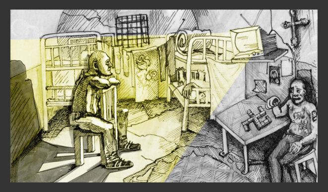 De sa cellule de prison, Zheleznov a été inspiré par les images de la Révolution de Maidan et a cru que l'Ukraine pourrait devenir une plate-forme pour défier le Kremlin. Illustration Codastory / Aleksandra Krasutskaya.
