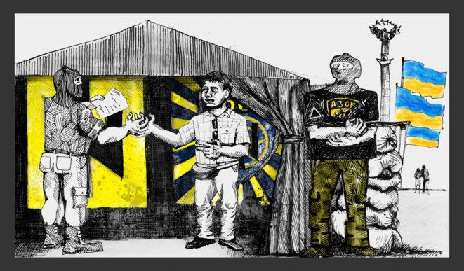 Avec le soutien du bataillon Azov, Zheleznov a pu entrer en Ukraine et se joindre aux combats près de la ville de Marioupol. Illustration Codastory / Aleksandra Krasutskaya.