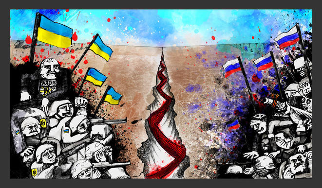 Les ultranationalistes russes des deux côtés de la ligne de front en Ukraine considèrent la guerre comme un jalon sur la route vers le pouvoir ultime. Illustration Codastory / Aleksandra Krasutskaya.