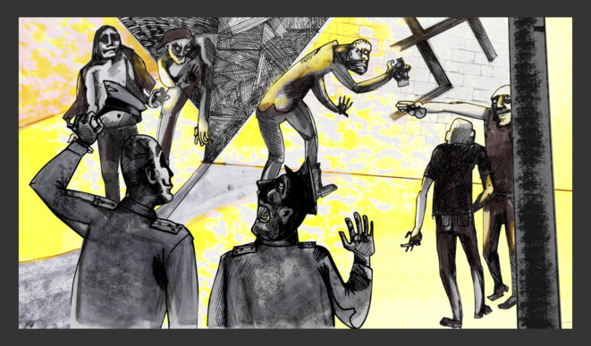 Les gangs ultra-nationalistes russes comptaient de puissants sympathisants et entretenaient parfois une relation symbiotique avec l'administration, avançant ses objectifs et battant ses opposants comme des homosexuels dans les libéraux. En retour, ils semblaient bénéficier d'une immunité de poursuites et d'un accès aux ressources. Illustration Codastory / Aleksandra Krasutskaya.