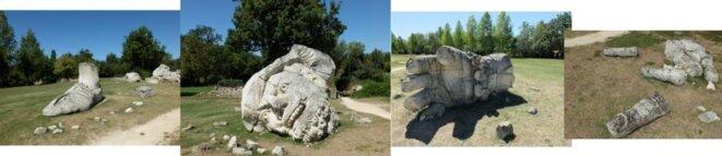 Repoduction récente non signée d'une très petite statuette ancienne. Celle-ci, non brisée, aurait pu atteindre 15 m de haut.