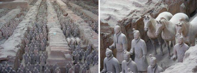 Soldats enterrés, en terre cuite, près de Xi'an, Chine [Photos YF]
