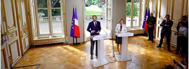 Le premier ministre Édouard Philippe et la ministre du travail Muriel Pénicaud ce 31 août, à Matignon © Reuters