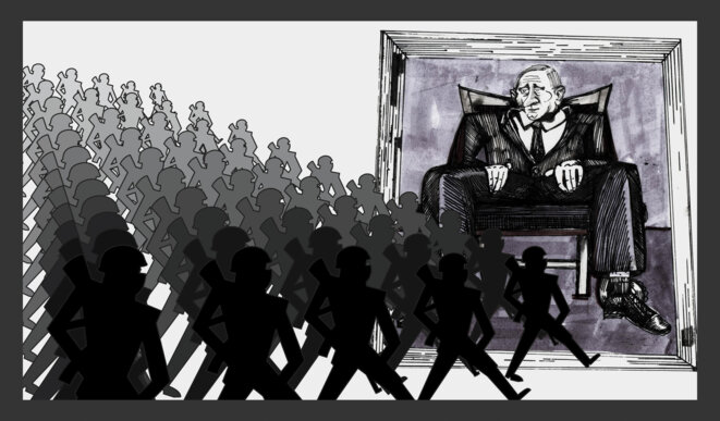 De nombreux ultranationalistes russes ont exprimé leur soutien à Poutine et se sont joints aux rebelles pro-russes combattant en Ukraine. Illustration Codastory / Aleksandra Krasutskaya.