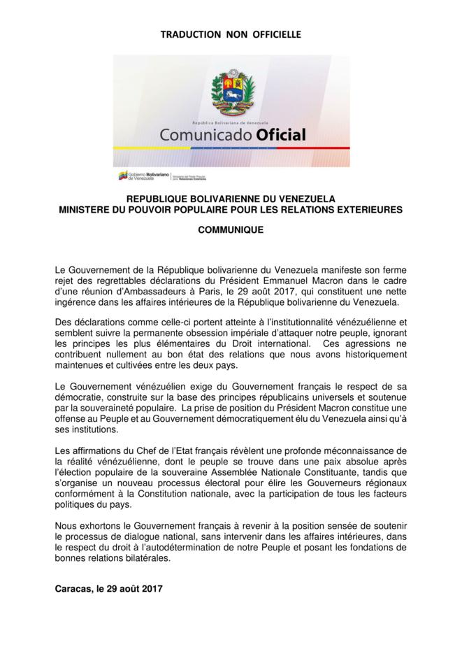 Communiqué du Ministère du pouvoir populaire pour les relations extérieures