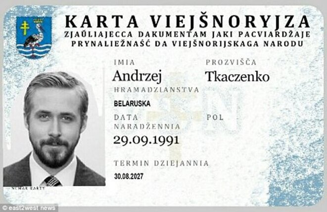 Document d'identité du nouvel Etat, appelé aussi Viejsnoryjza.