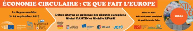 Annonce de la conférence débat sur l'économie circulaire. Le débat sera animé par Philippe Gonnet. © Parlement Européen