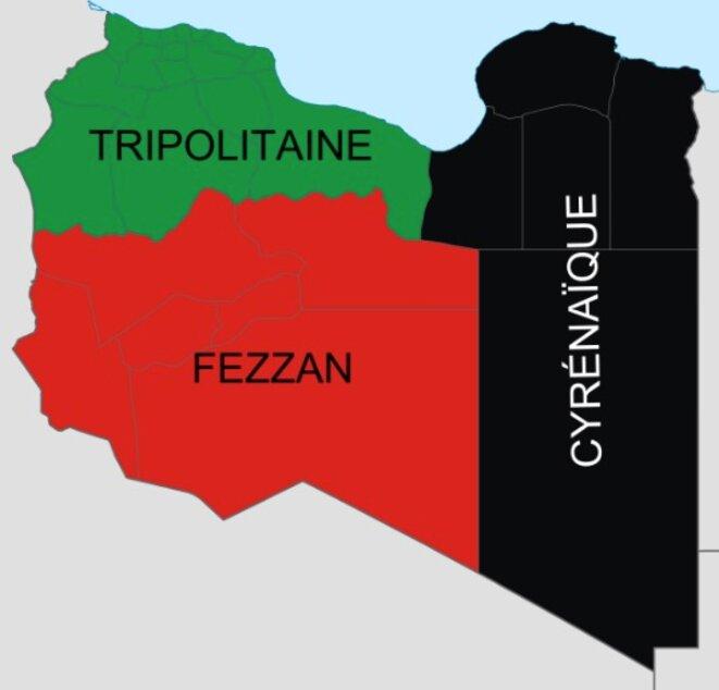 Les trois provinces traditionnelles de la Libye. © Wikipedia