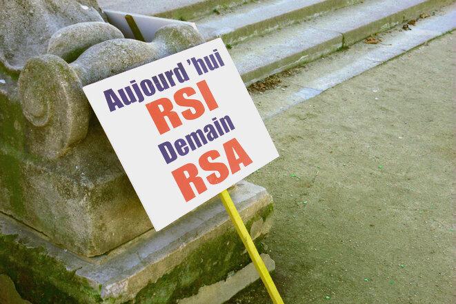À une manifestation contre le RSI, à Paris le 28 novembre 2016. © D.I.