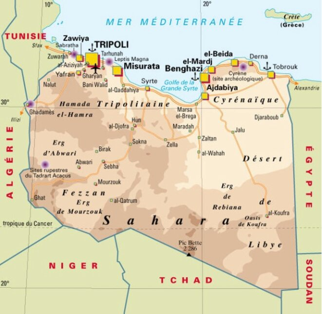 Les principales villes libyennes.