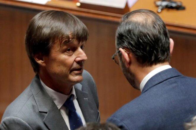 Nicolas Hulot et Edouard Philippe, le 12 juillet 2017, à l'Assemblée nationale. © Reuters