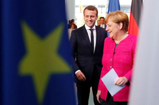 Emmanuel Macron et Angela Merkel, le 15 mai 2017 à Berlin. © Reuters