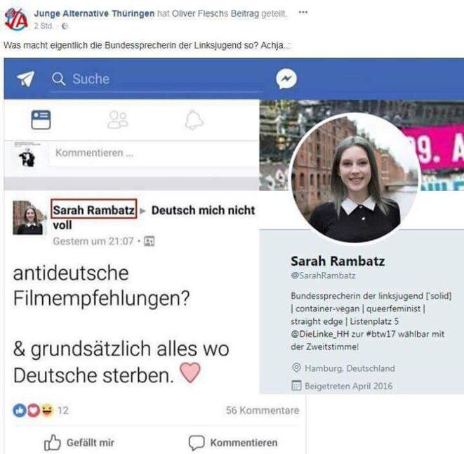 Capture d'écran du post qui se lit comme suit: »des recommendations de films anti-allemands? » (« antideutsche Filmempfehlungen? ») »De préférence ceux dans lesquels les Allemands meurent » (« grundsatzlich alles wo Deutsche sterben »)