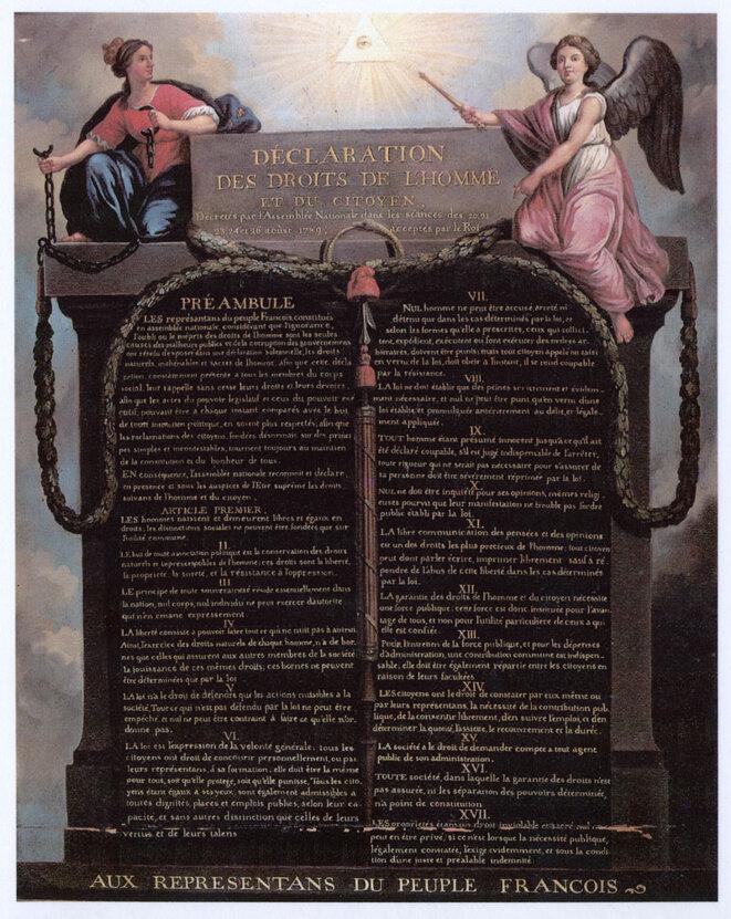 Déclaration des droits de l'homme et du citoyen, préambule de la Constitution Française de 1958