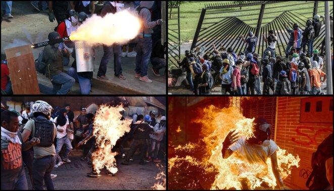 En haut à droite, des manifestants attaquent la base militaire de La Carlota en juin 2017 | En bas à gauche, une personne est brûlée vive par des opposants car présumée chaviste. Il s'appelait Orlando Figueroa, et il succombera à ses blessures | En bas à droite, un opposant se brûle lui-même avec son cocktail Molotov. Il survivra à ses blessures.