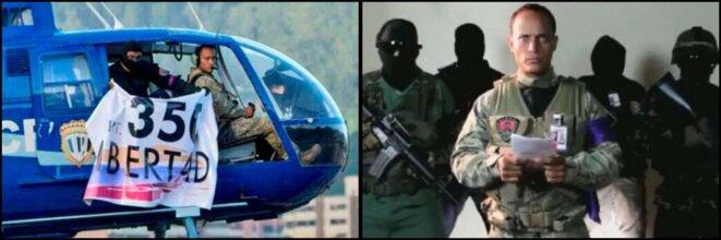 A gauche, l'hélicoptère durant l'attaque du 27 juin | A droite, Oscar Pérez et ses sbires qui déclarent publiquement leurs intentions
