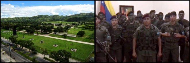 A gauche, une vue aérienne du fort Paramacay lors de l'attaque du 6 août | A droite, les mercenaires déguisés en militaires, appellent publiquement eux aussi à la rébellion