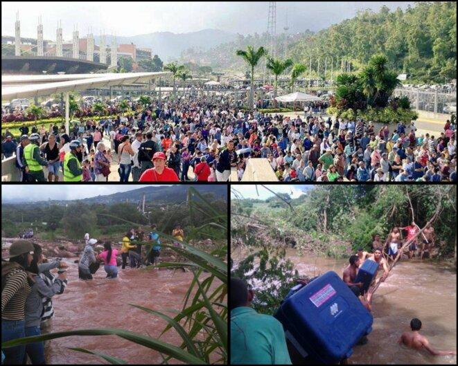 En haut, un centre de votation à Caracas | En bas à gauche, des personnes traversent une rivière pour éviter des barricades routières et aller voter | En bas à droite, des machines à voter sont acheminées d'urgence après que certaines aient été endommagées