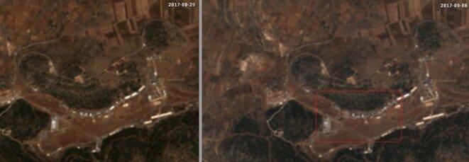 Les installations de Masyaf, avant et après le bombardement, des images relayées par le quotidien israélien Haaretz (http://www.haaretz.com/middle-east-news/1.811389) © @obretix