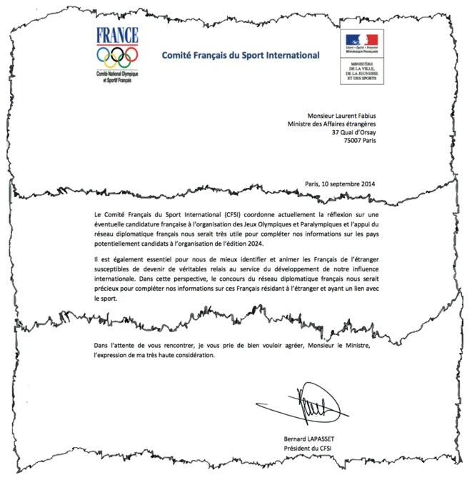 "A letter dated September 2014 from Bernard Lapasset to then French foreign affairs minister Laurent Fabius, in which Lapasset requests the help of ""the French diplomatic network"" for information about rival national bids for the Olympic Games, and also in making contact with French expatriates who might help with the French bid. © Document Mediapart"