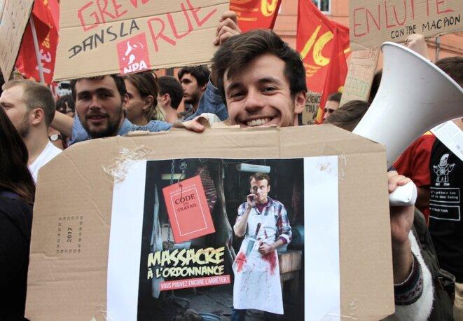 À Toulouse, le 12 septembre 2017, lors de la manifestation contre les ordonnances sur le code du travail. © ER