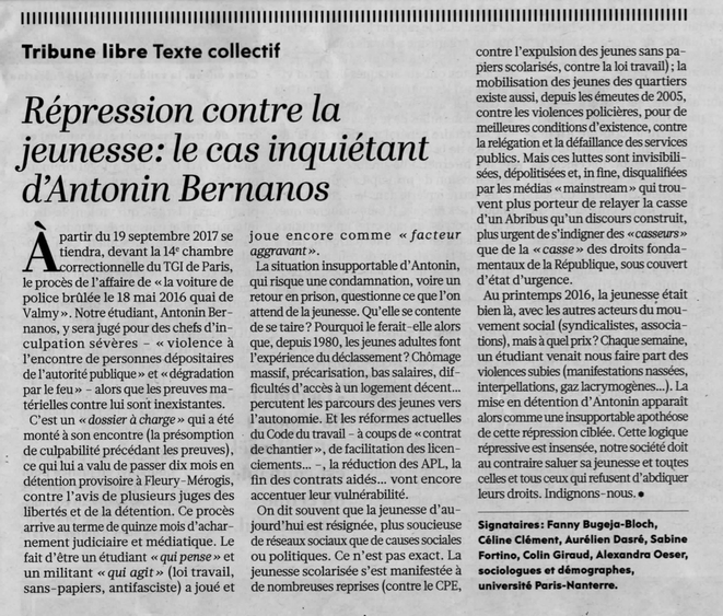 Répression contre la jeunesse : le cas inquiétant d'Antonin Bernanos