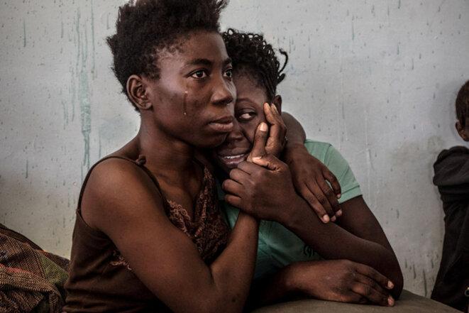 Migrantes nigerianos en un centro de detención en Surman, Libia, en agosto de 2016. © Reuters