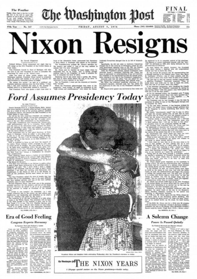 La démission de Nixon à la Une du Washington Post. © DR