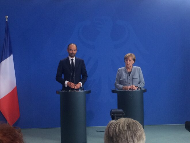 Édouard Philippe et Angela Merkel, le 15 septembre. © ES