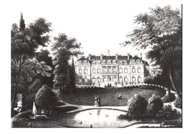 Parc et Palais de l'Élysée vers 1850 © Graveur du XIXème siècle (Gravure du XIXème siècle) [Public domain], via Wikimedia Commons