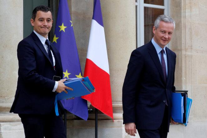 Gérald Darmanin et Bruno Le Maire à l'Élysée, en juillet 2017 © Reuters