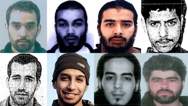 Eight of the terrorists behind attacks against Europe. From left to right and from top to bottom: Oussama Atar, Boubakeur el-Hakim, Salim Benghalem, Samir Nouad, Abdelnacer Benyoucef, Abdelhamid Abaaoud, Najim Laachraoui and Ahmad Alkhald. © DR