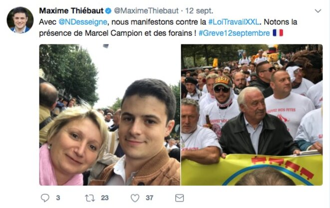Maxime Thiébaut et Nathalie Desseigne, le 12 septembre © Compte Twitter de Maxime Thiébaut