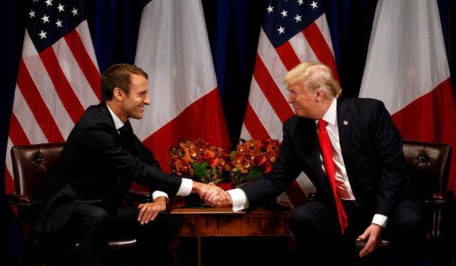 Emmanuel Macron et Donald Trump lundi à New York © Reuters