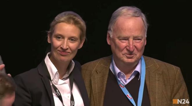 Alice Weidel et Alexander Gauland, les deux têtes de liste de l'Alternative pour l'Allemagne (AfD). Capture écran / Youtube..