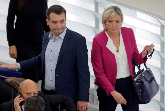 Florian Philippot et Marine Le Pen au Parlement européen, le 25 octobre 2016. © Reuters