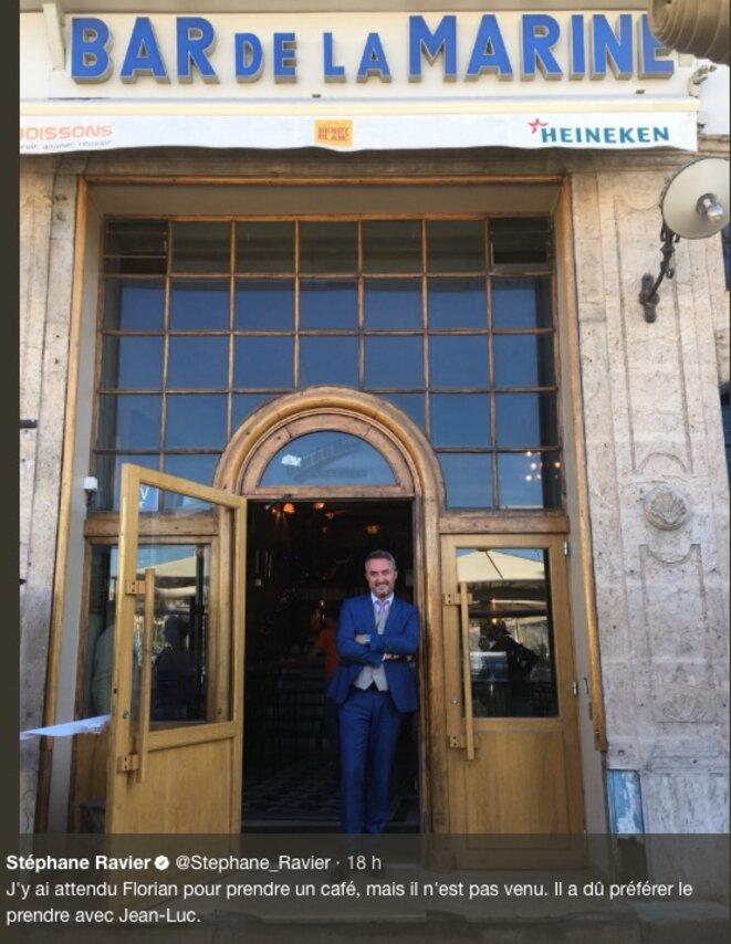 « J'y ai attendu Florian pour un café, mais il […] a dû préférer le prendre avec Jean-Luc » © Compte Twitter de Stéphane Ravier