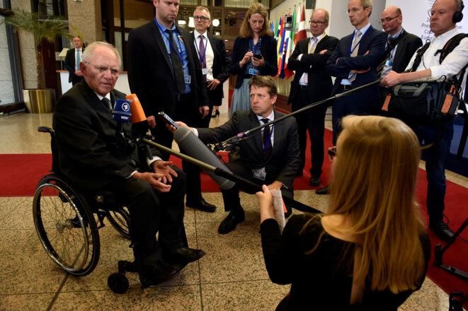 Wolfgang Schäuble à l'occasion d'une réunion de l'Eurogroupe à Bruxelles, en mai 2017 © Reuters