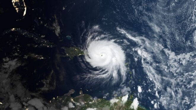 L'ouragan Maria vu de l'espace au moment où il frappe Porto Rico © Nasa