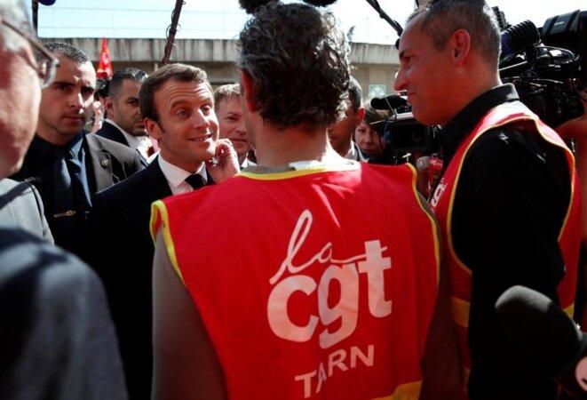Emmanuel Macron pendant la campagne présidentielle, le 4 mai à Albi (Tarn). © Reuters