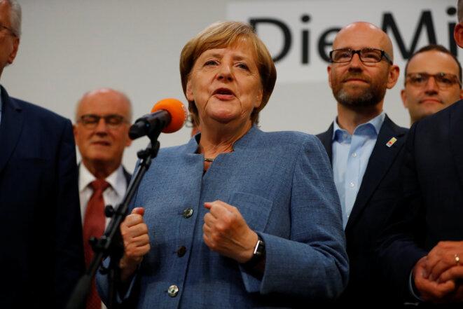 Angela Merkel le soir des résultats, dimanche 24 septembre © Reuters
