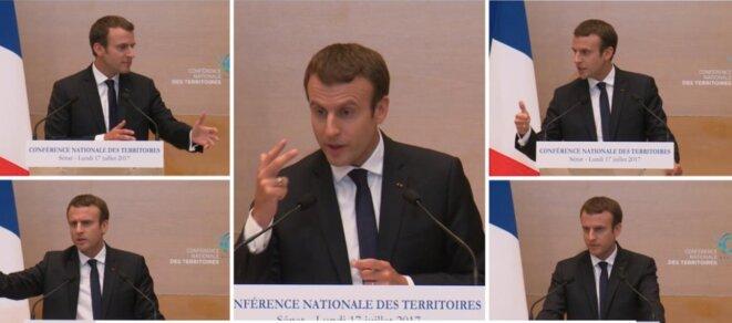 Emmanuel Macron à la conférence nationale des territoires, le 17 juillet 2017. © LCP