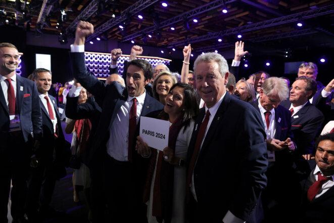 Tony Estanguet, Anne Hidalgo et Guy Drut à Lima le 13 septembre. © Reuters
